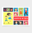 flat happy kids colorful composition vector image vector image