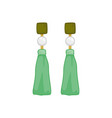 green pearl earings fashion style item vector image vector image