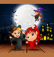halloween background with flying witch on the full vector image vector image