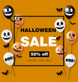 halloween sale card with air balloons vector image vector image