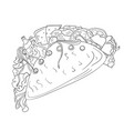 hand drawn tacos icon badge fast food vector image vector image