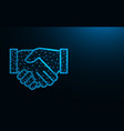 handshake low poly design agreement abstract vector image vector image
