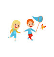 happy kids catching butterfly cute boy and girl vector image vector image