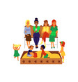 happy mothers and bagroup on playground flat vector image