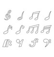 isolated black music note outline icons set vector image vector image