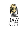 jazz club logo design music label with retro vector image
