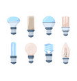 light bulbs set fluorescent retro modern lamps vector image vector image