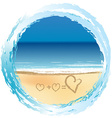 Love concept with hearts drawn on the sand vector image vector image