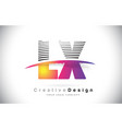lx l x letter logo design with creative lines and vector image