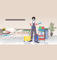male professional cleaner in uniform man janitor vector image vector image