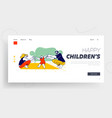 mom and dad teach kid to walk landing page vector image vector image