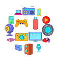 multimedia icons set cartoon style vector image vector image