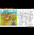playful dogs characters group coloring book page vector image vector image