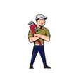 Plumber Arms Crossed Standing Cartoon vector image vector image