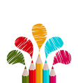 rainbow pencils isolated on white background vector image