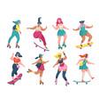 roller skating girls young women roller skates vector image vector image
