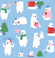 seamless pattern with cute polar bears vector image vector image