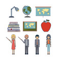 set people teacher and element to teaching vector image