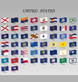 set waving flags states usa vector image