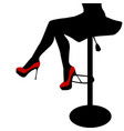 sexy woman legs staying on a bar chair vector image vector image
