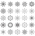 Snowflake set black and white vector image vector image