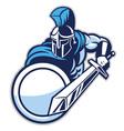 Spartan mascot show his big sword vector image