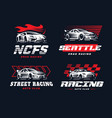 sport car logo on dark background vector image vector image