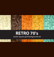 square pattern set retro 70s seamless glowing vector image vector image