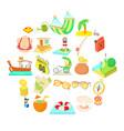 sunshiny icons set cartoon style vector image vector image