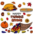 Thanksgiving day dinner set vector image