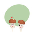 two mushroom characters one showing love another vector image vector image
