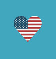 united states flag icon in a heart shape in flat vector image