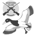 Vintage label with a duck weapons for lucky vector image