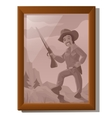 wall picture in frame portrait american hunter vector image vector image
