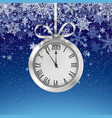 winter background with snowfall and silver clock vector image