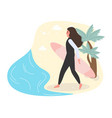 woman surfer with surfing board on sand beach hot vector image vector image