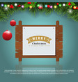 wooden christmas message board and decoration vector image vector image