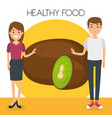 young couple with kiwi healthy food vector image vector image
