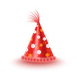 festive cap with flowers isolated vector image