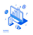 isometric social marketing line style concept vector image