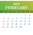 2019 calendar template - february vector image