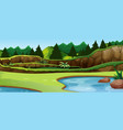 a simple lake scene vector image vector image