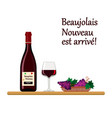beaujolais nouveau wine with glass and grapes vector image vector image