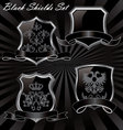black shields set vector image vector image