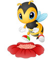 cartoon bee happy to see the flower vector image