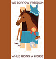 cartoon jokey banner with horse in stable vector image