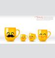ceramic yellow mug cartoon happy and smile father vector image vector image