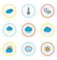 climate icons colored line set with frosty vector image