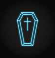 coffin with cross icon in neon line style vector image