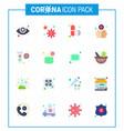 coronavirus awareness icon 16 flat color icons vector image vector image